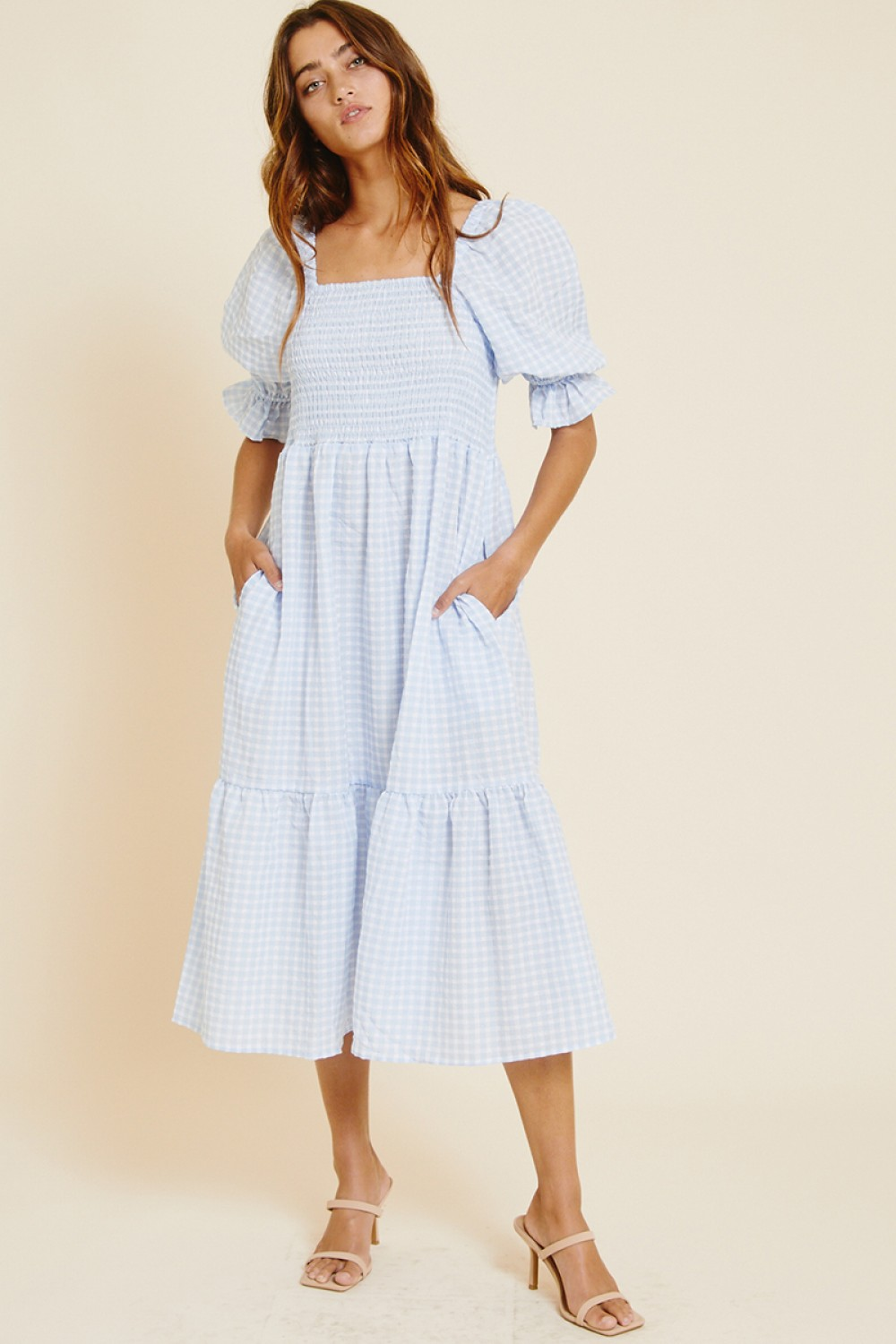 DI5963<br/>Quarter Puff Sleeve Tier Dress with Square Neck