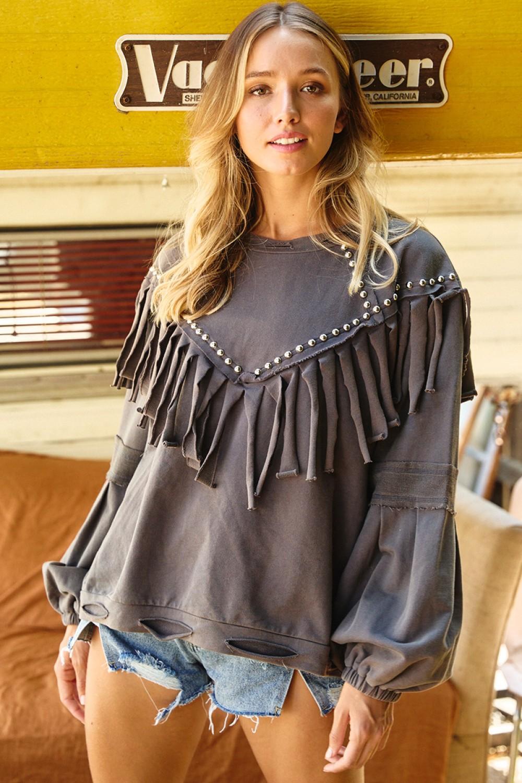 TAT472<br/>Studded Detail Fringe Pullover Sweatshirt