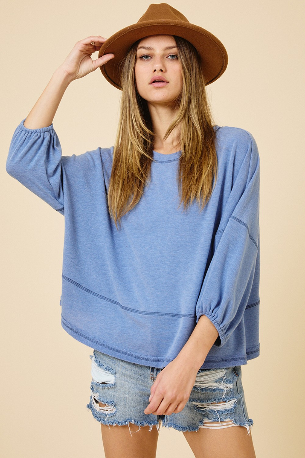 TJ10562<br/>Reverse Stitched Casual Top